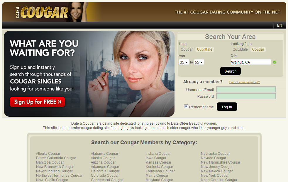 Date a cougar website